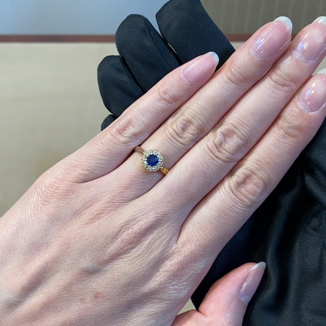 Victorian Sapphire & Diamond Halo Ring <br /> 0.70ct in 18ct Yellow Gold