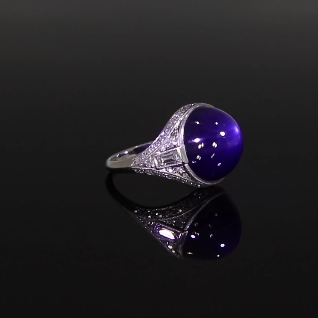 Art Deco Cabachon Sapphire Ring <br /> 15.19CT in Platinum