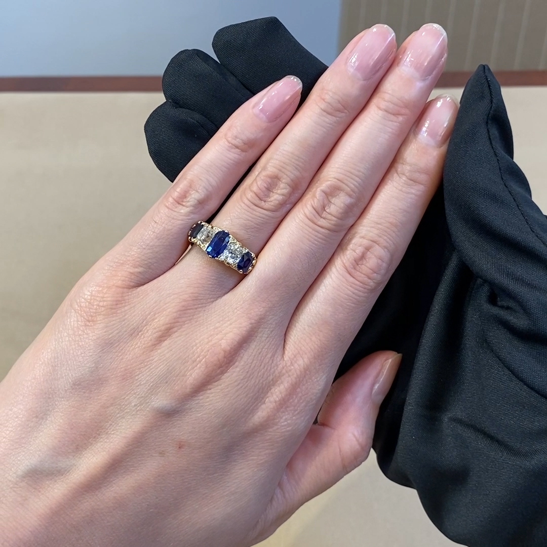 Victorian Blue Sapphire & Diamond Ring <br />   in Yellow Gold