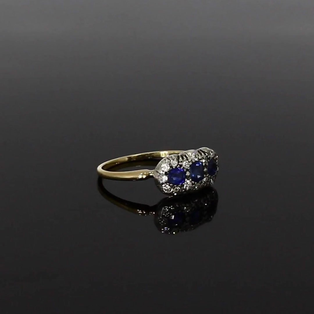 Victorian Sapphire & Diamond Three Stone Ring <br /> 0.64ct in 18ct Yellow Gold & Silver