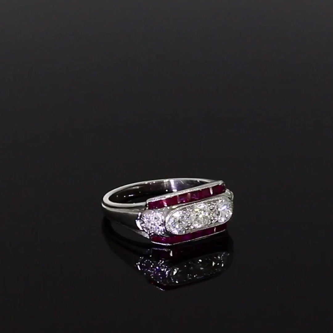 Art Deco Three Stone Plaque Ring <br /> Ruby, Diamond & Platinum