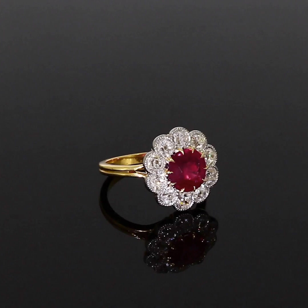 Brilliant Cut Ruby Ring<br /> 1.68CT in Yellow Gold