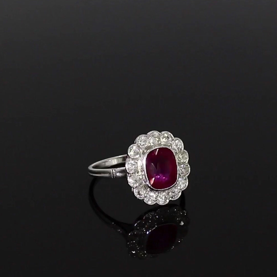 Art Deco Ruby Ring<br /> 2.60CT in Platinum