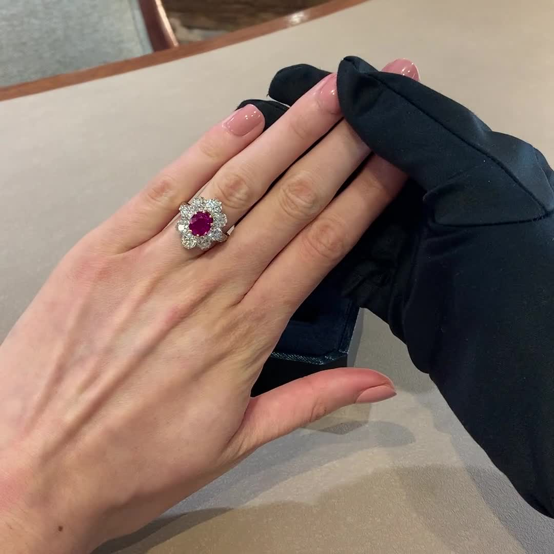 Victorian Burmese Ruby Ring<br /> 2.60CT in Yellow & White Gold