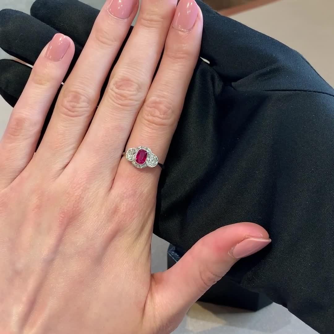Edwardian Burmese Ruby Ring<br /> 1.13CT in Platinum