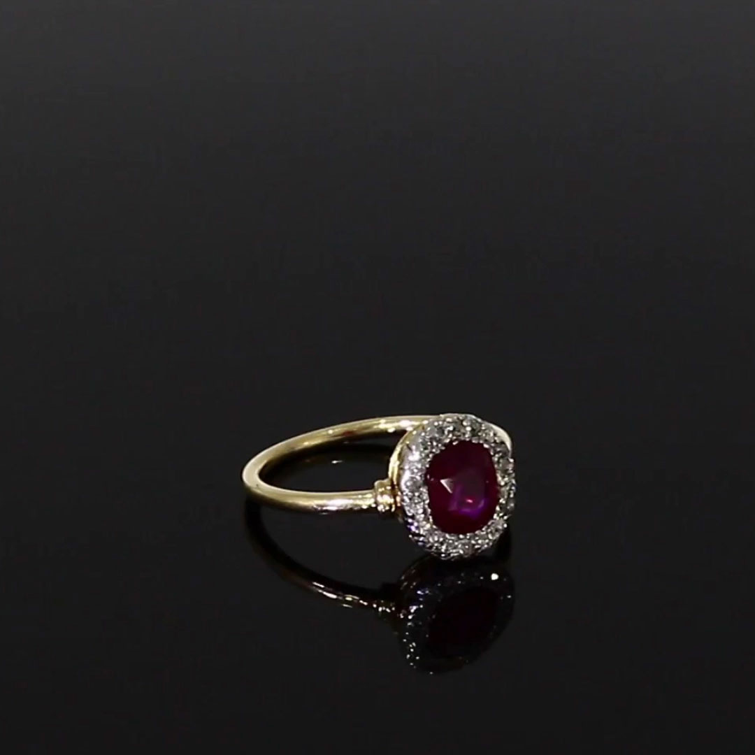 Belle Époque Burmese Ruby Ring<br /> 1.11CT in Yellow Gold