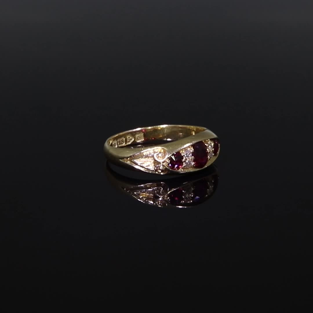 Edwardian Ruby Ring<br /> 0.78CT in Yellow Gold