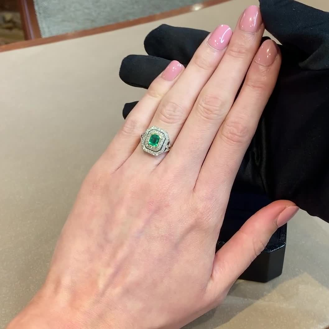 Belle Époque Emerald Ring <br /> 2.90CT in Yellow Gold and Platinum
