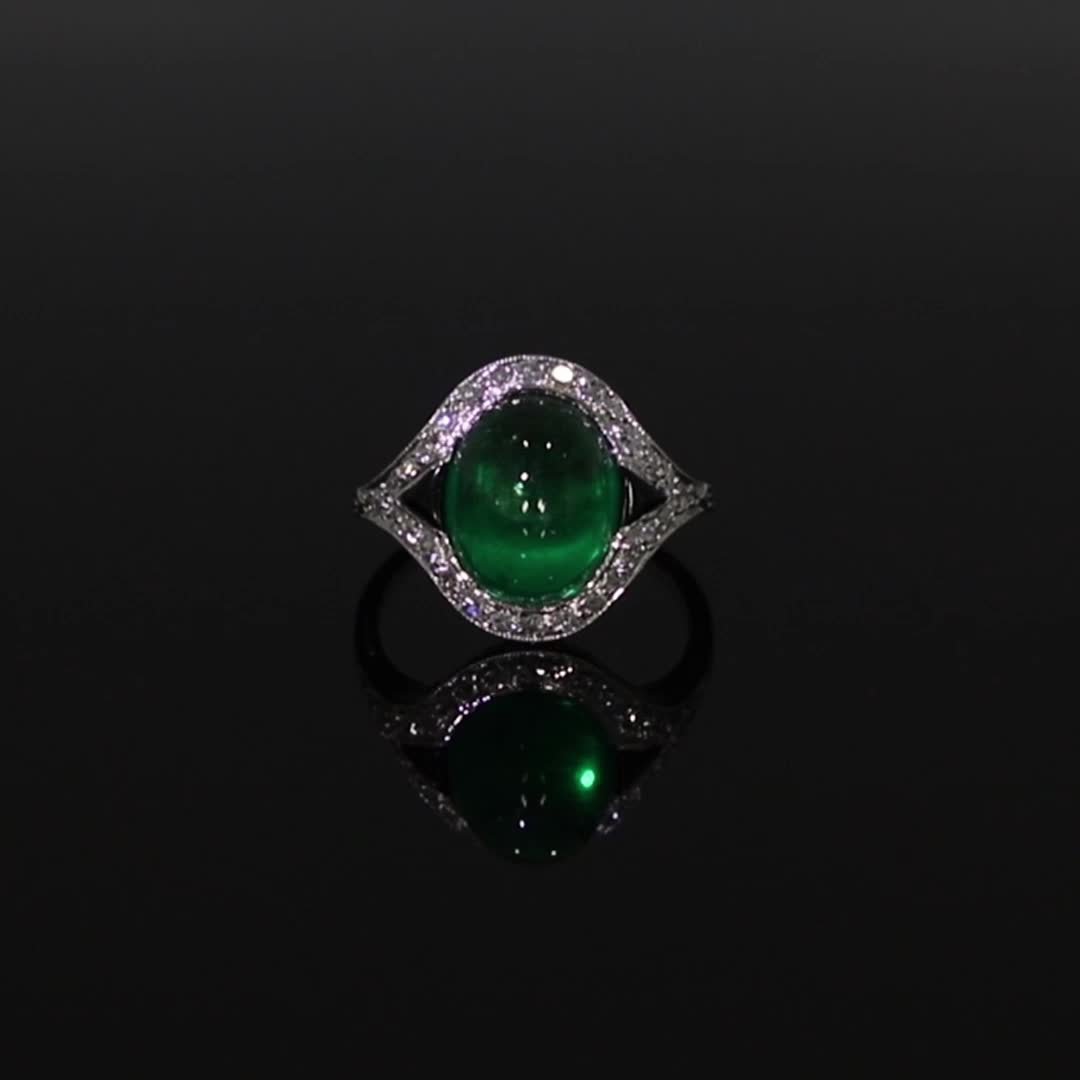 Art Deco Colombian Cabochon Emerald Ring<br /> 5.02CT in Platinum