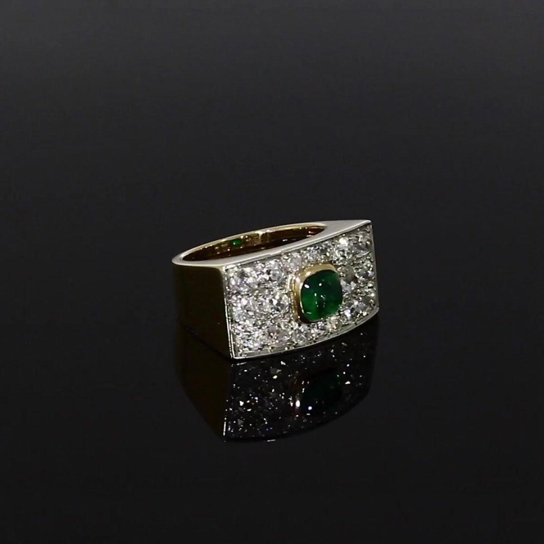 Boivin Chevalier Bombé Cocktail Ring <br /> Yellow Gold, Platinum, Diamonds, Emerald