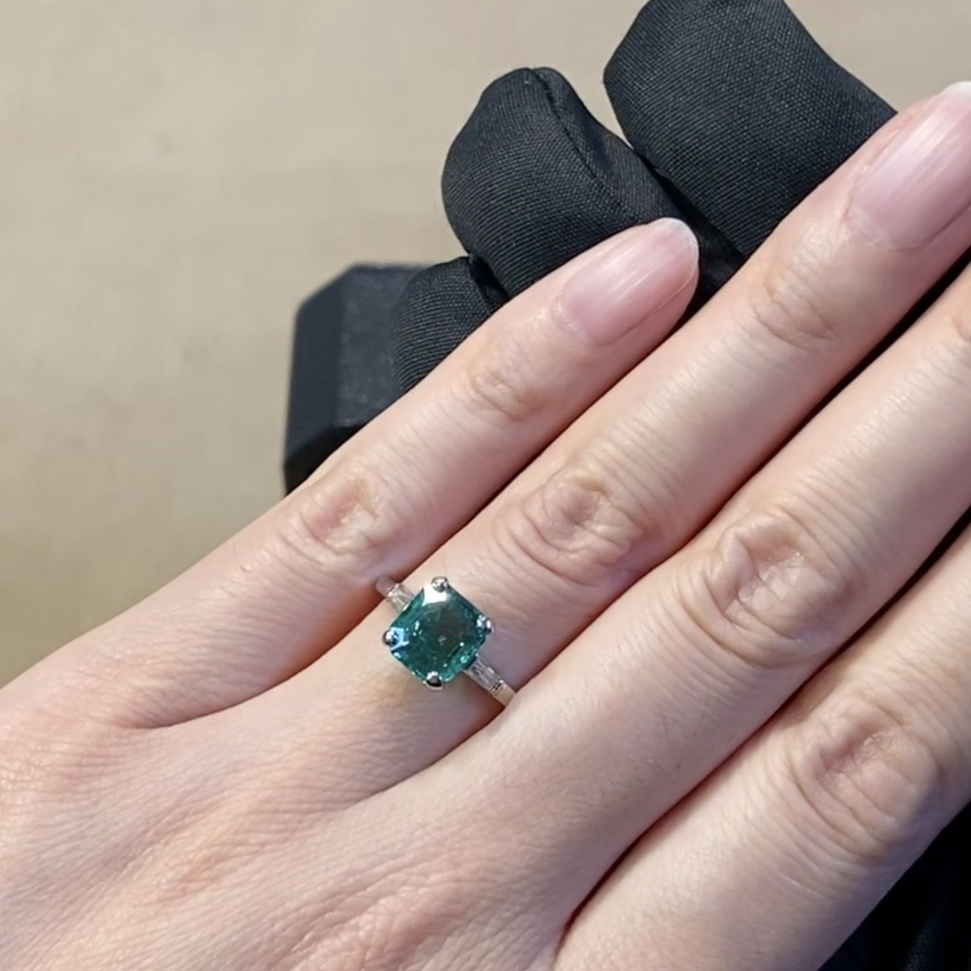 Contemporary Colombian Emerald Ring<br /> 1.60CT in Platinum