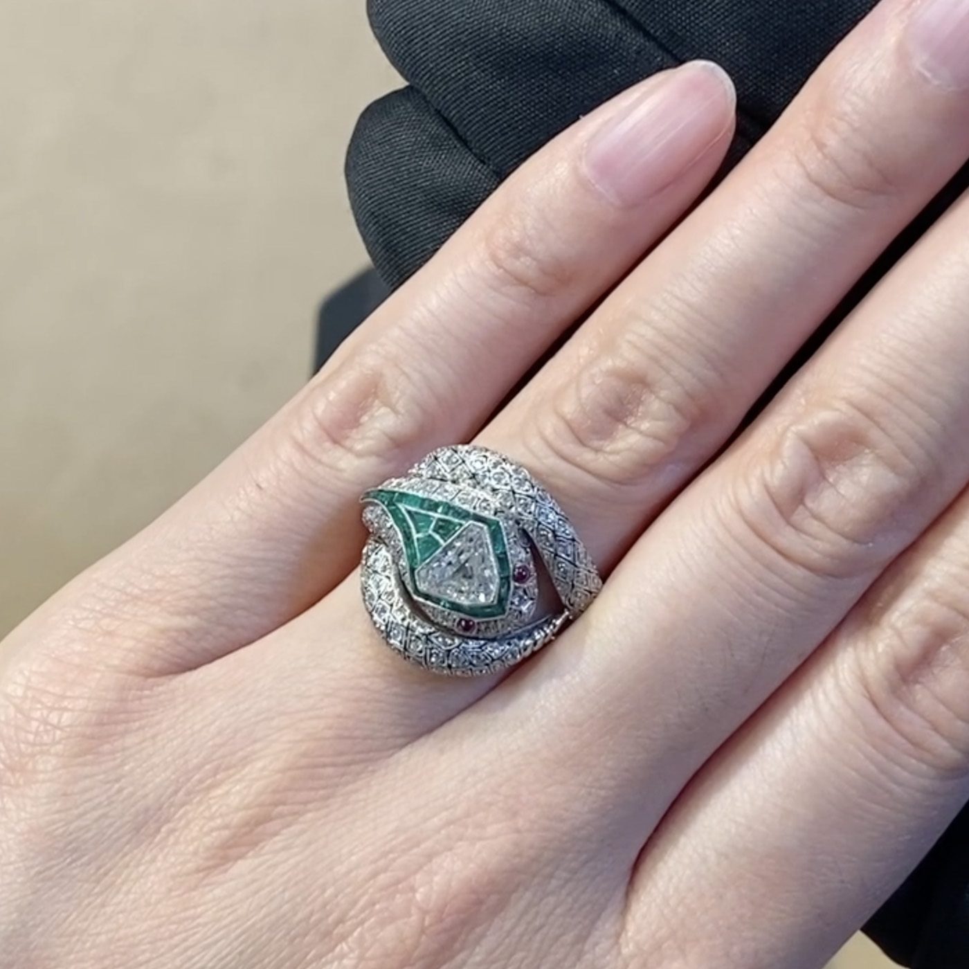 Edwardian Rattlesnake Ring<br />  Platinum, Diamond, Emerald and Ruby