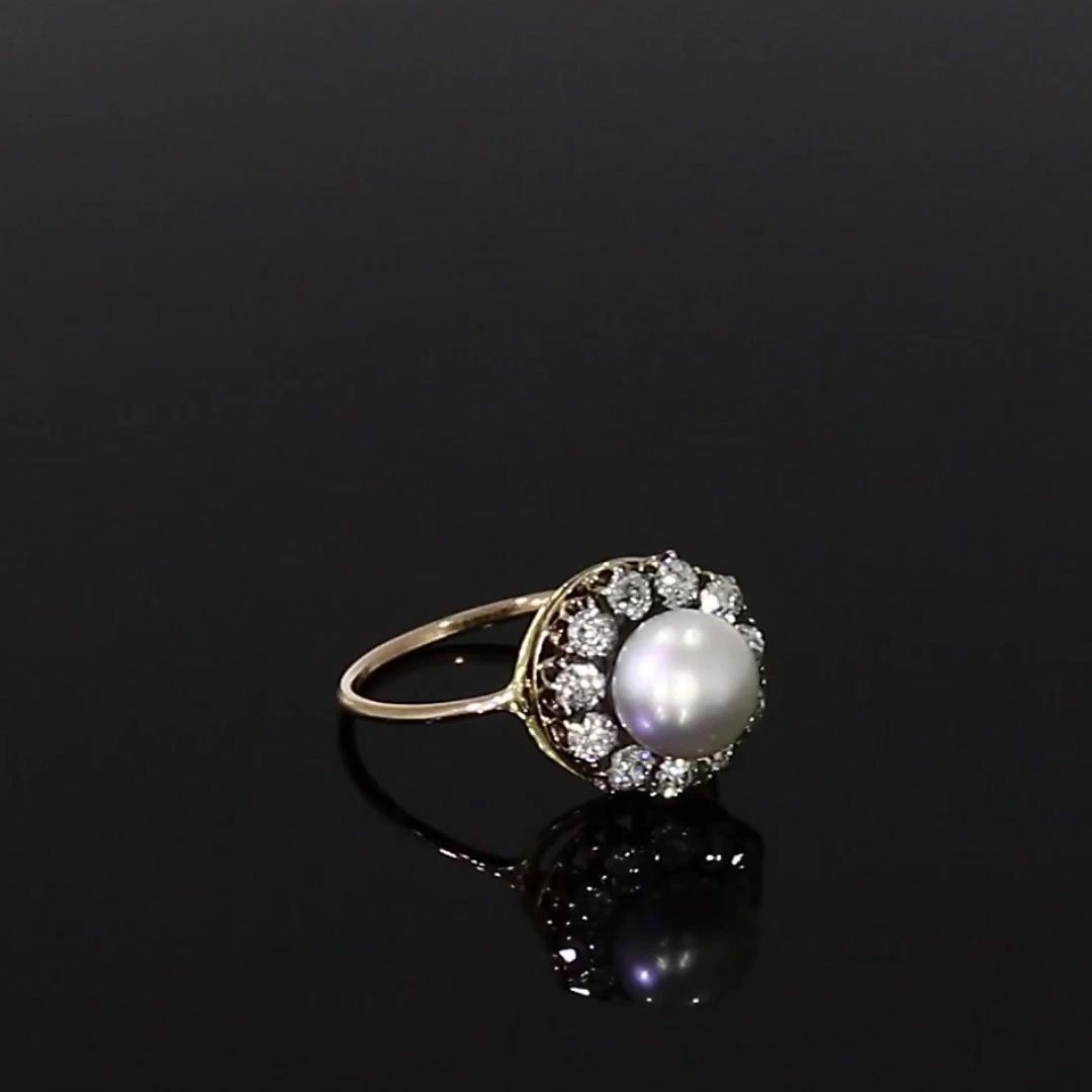 Victorian Natural Pearl Ring<br />  in Yellow Gold