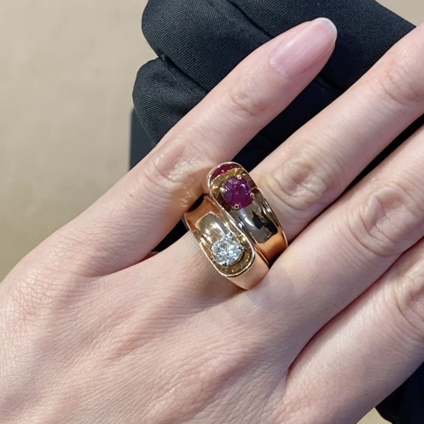 Retro Boucheron Diamond and Ruby Ring <br /> 1.95CT in Rose Gold