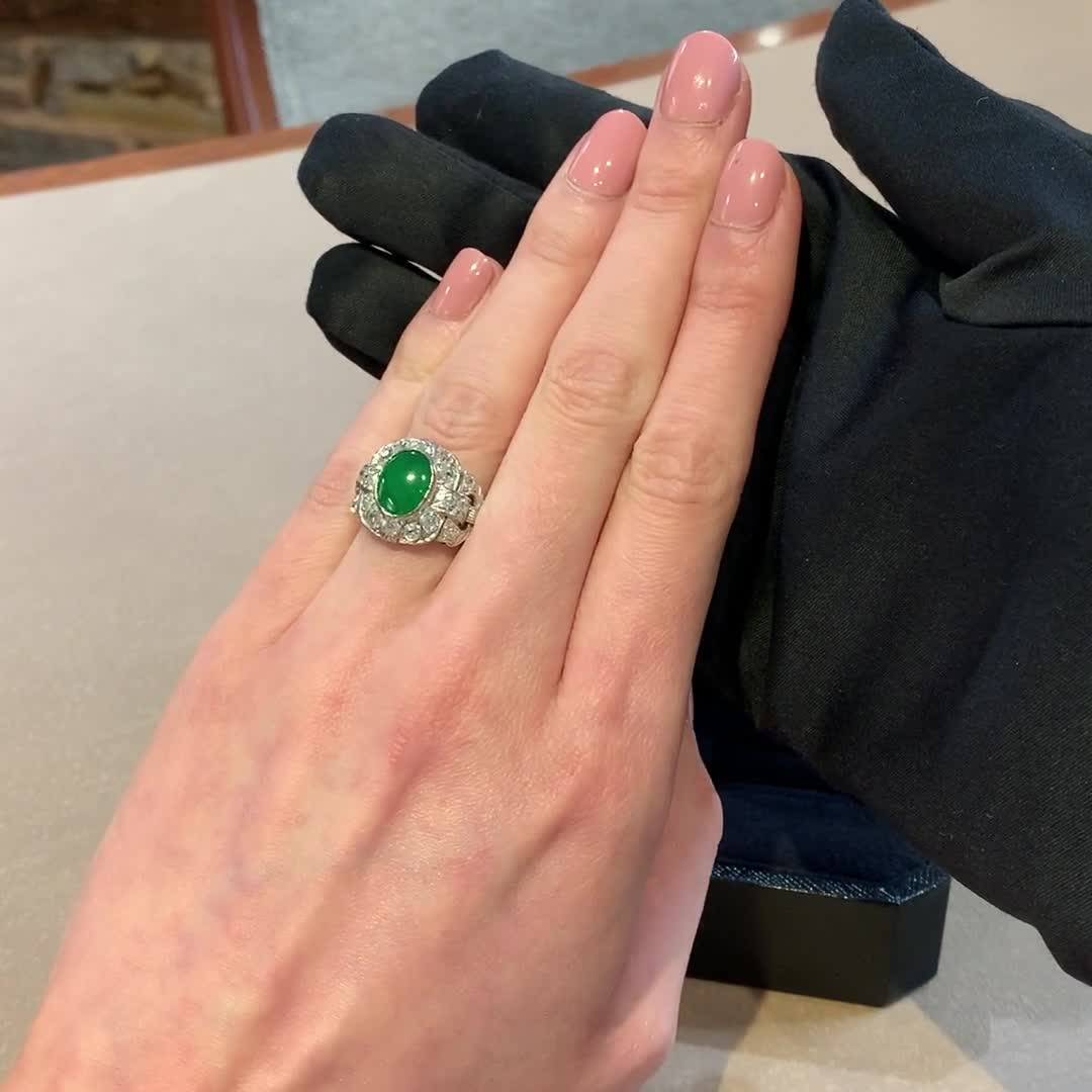 Retro Jadeite Cluster Ring<br /> 5.14CT in Yellow & White Gold