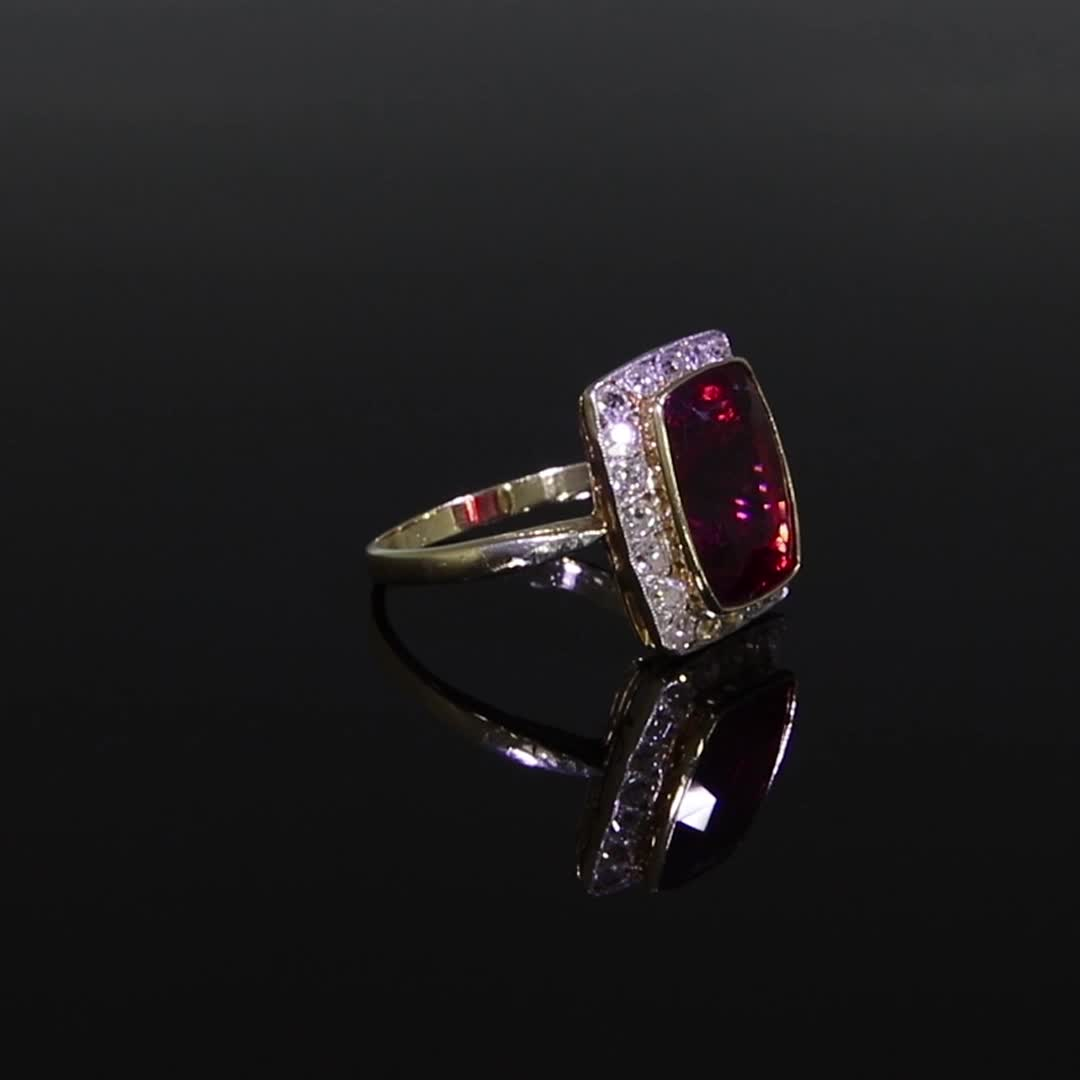 Edwardian Red Tourmaline Ring<br /> 5.80CT in Yellow Gold