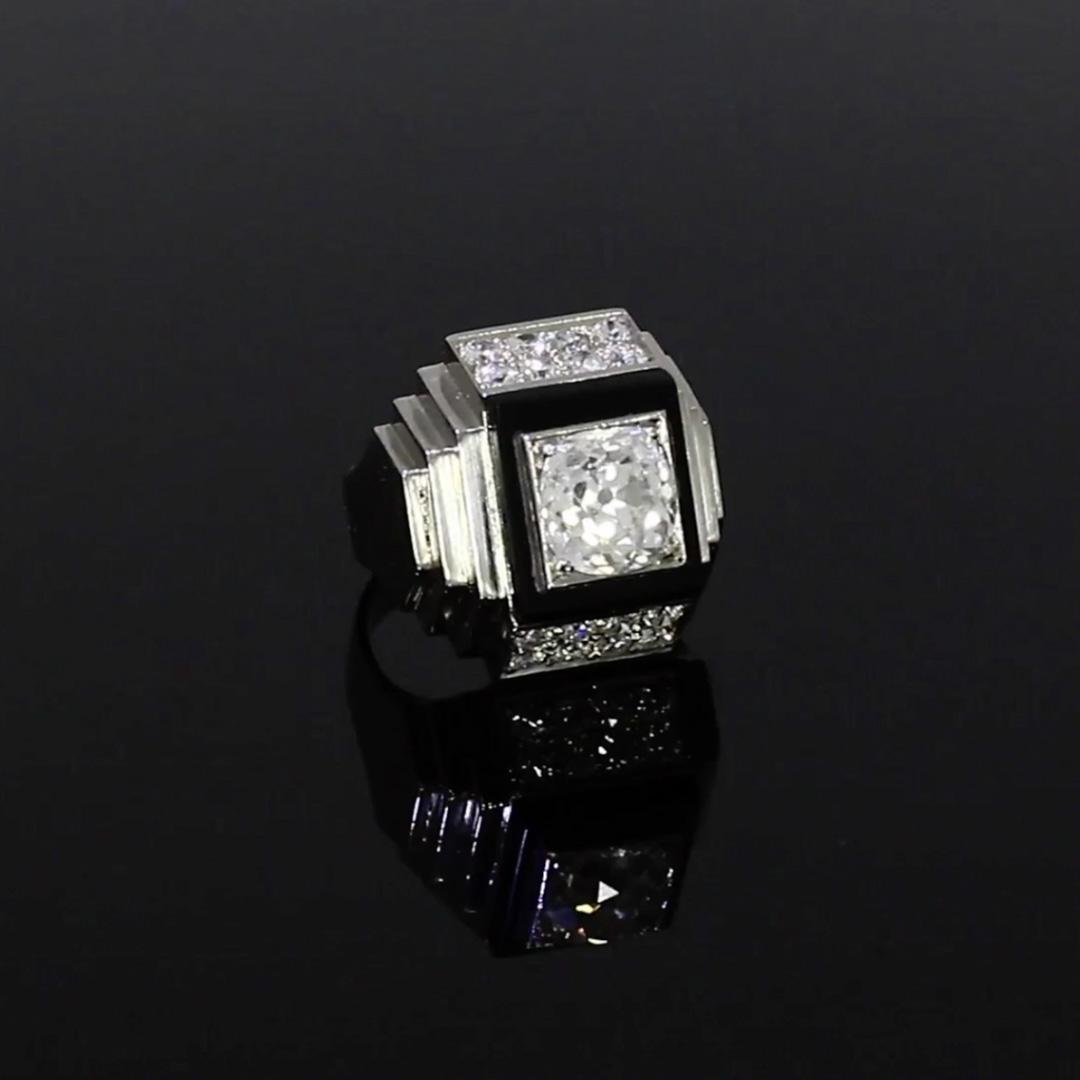 Art Deco Boivin Cocktail Ring <br /> Platinum, Diamond and Onyx