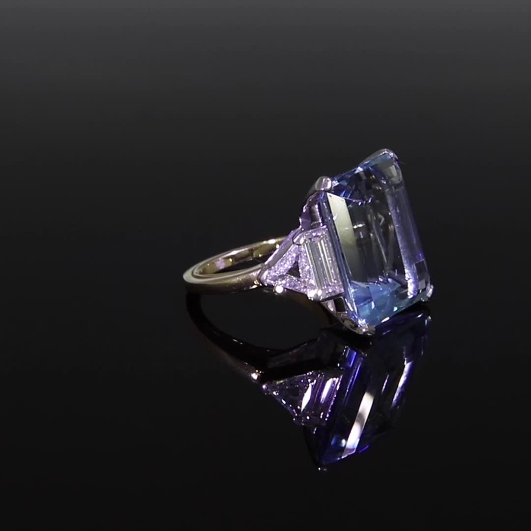 Aquamarine Ring<br /> 20.00CT in Platinum & Yellow Gold