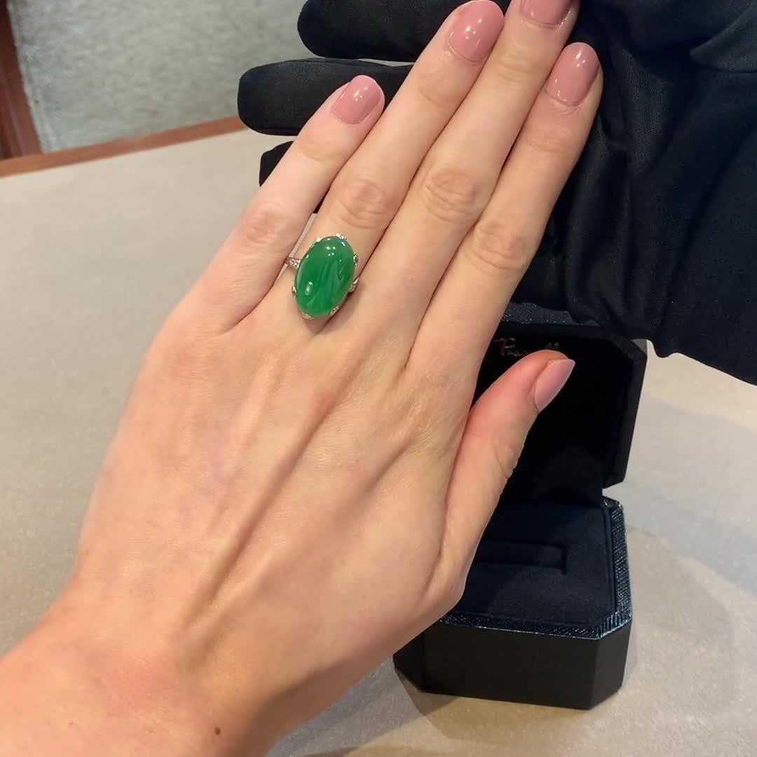 Art Deco Jadeite Ring<br /> 10.32CT in Platinum