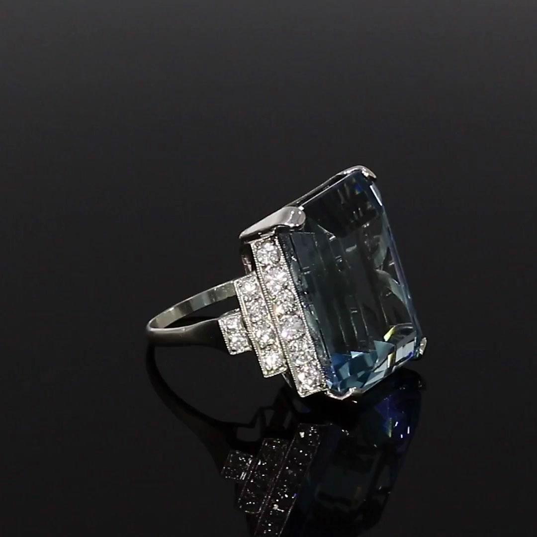 Aquamarine Cocktail Ring<br /> 30.00CT in Platinum