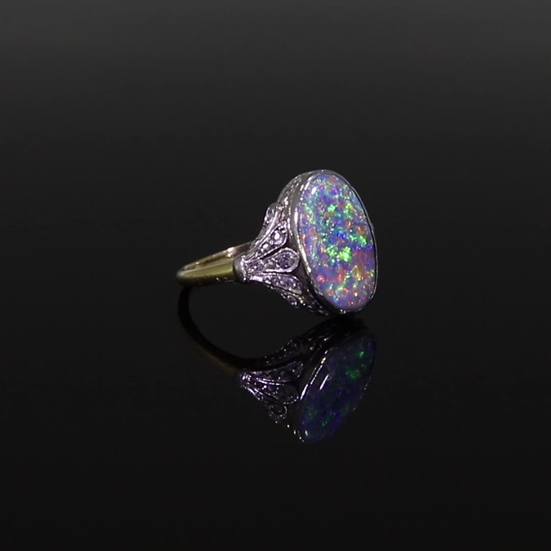Edwardian Black Opal Ring<br /> 1.80CT in Yellow Gold & Platinum