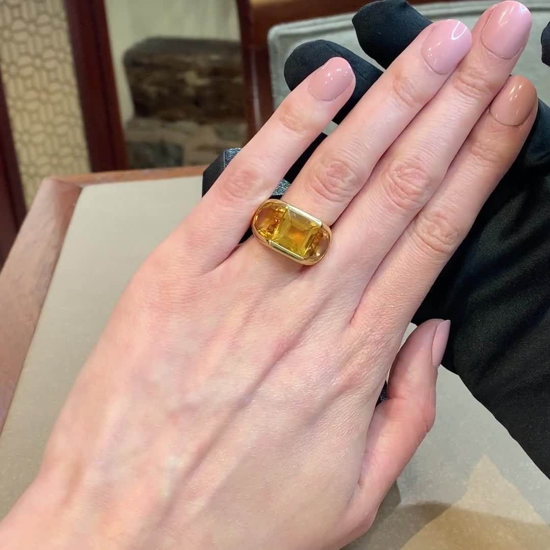 Citrine Three-Stone Cocktail ring<br /> in Yellow Gold