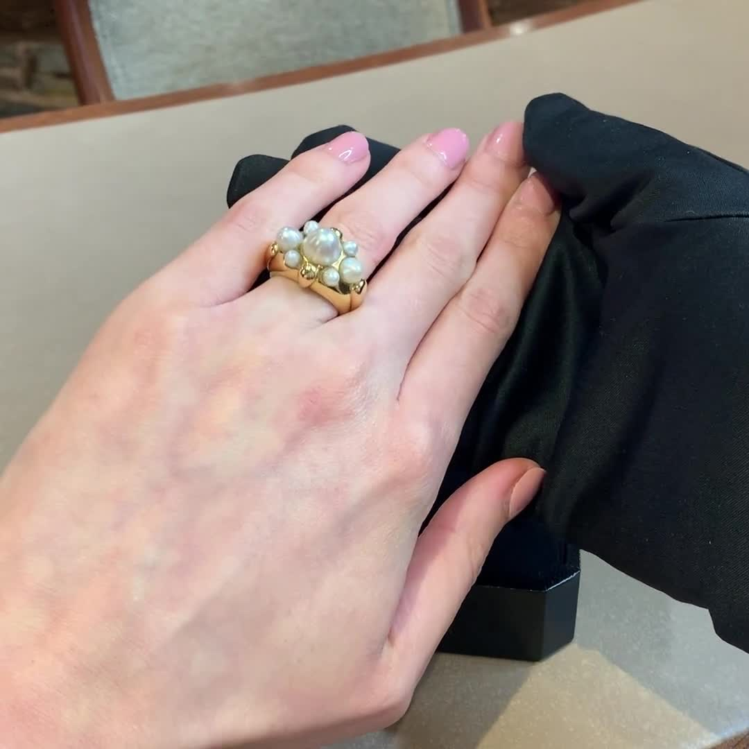 Natural Pearl Bombé Ring<br /> in Yellow Gold