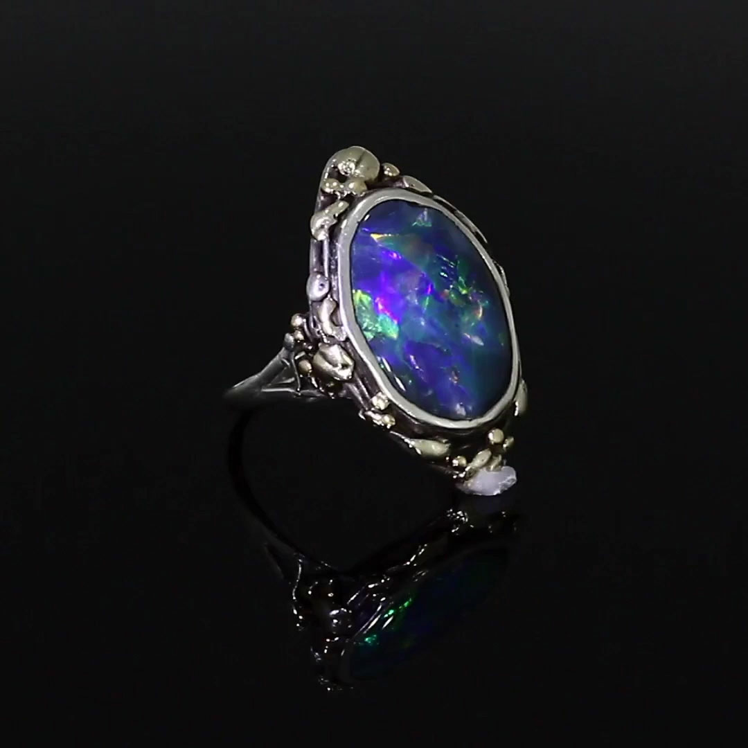 Art Nouveau Opal Ring <br /> in Silver and Yellow Gold
