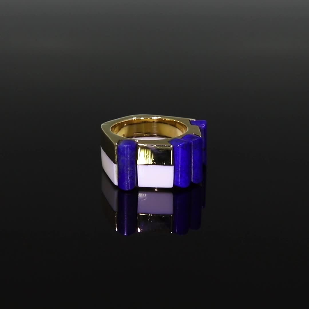 Retro French Blue Lapis Ring <br /> in Yellow Gold