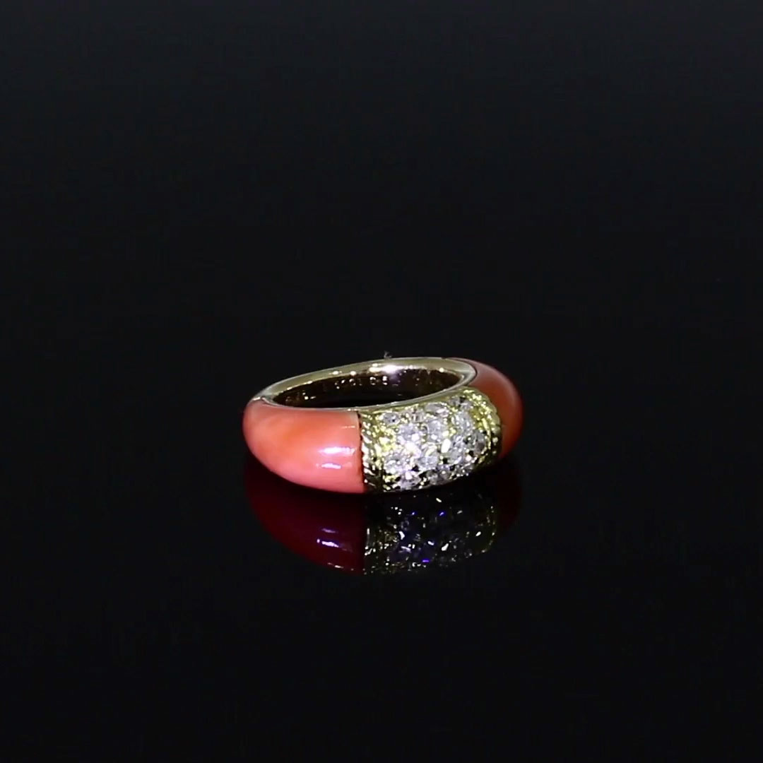 Van Cleef & Arpels Coral and Diamond Philippine Ring<br /> in 18ct Yellow Gold