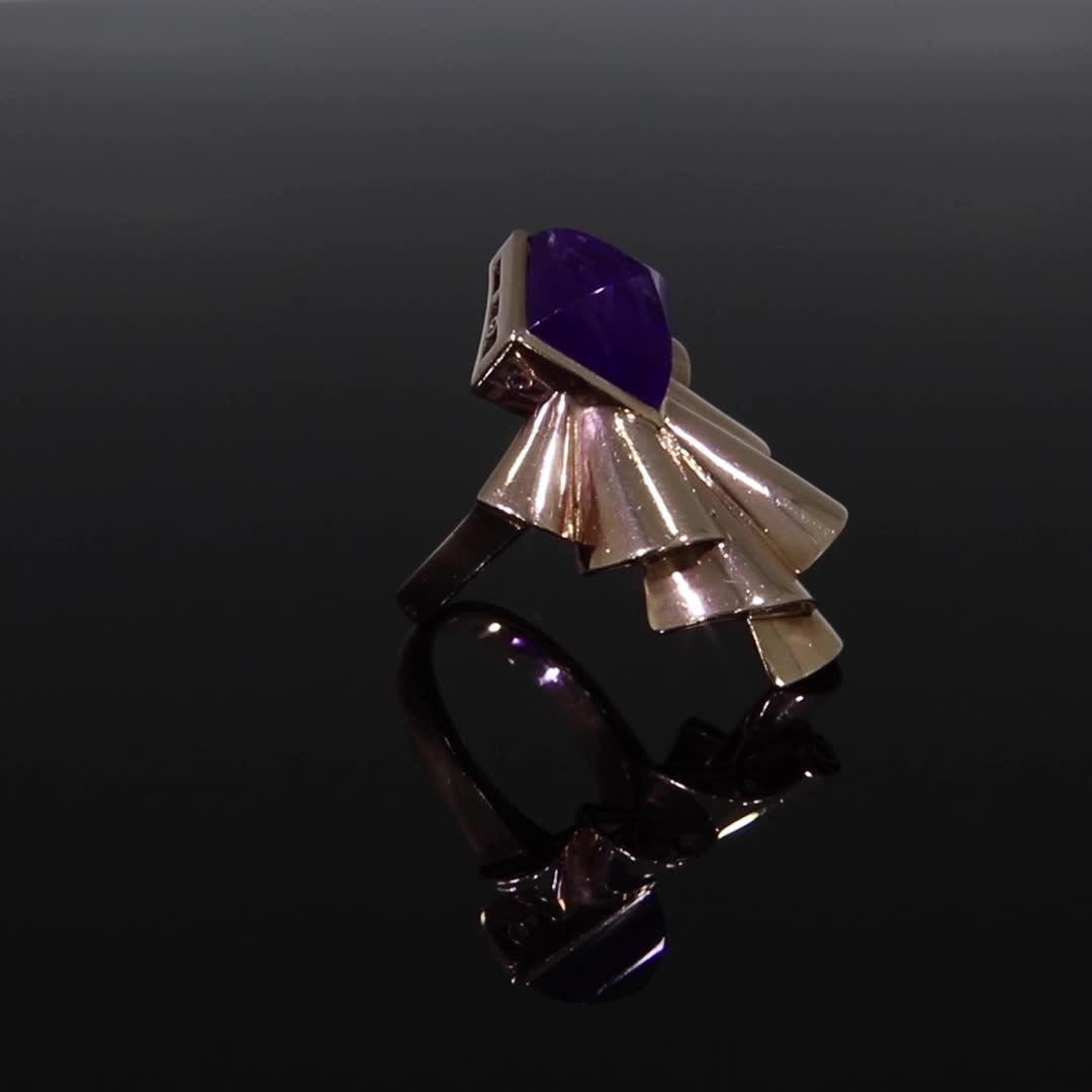 Retro Amethyst Ring<br /> 4.90CT in Rose Gold