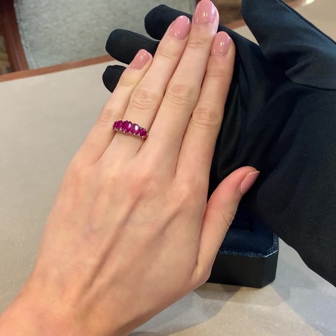 Victorian Burmese Ruby Ring<br /> 3.30CT in Yellow Gold