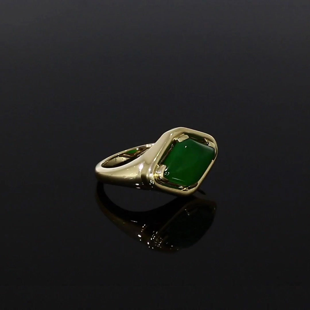 Contemporary Jadeite Ring<br /> 6.60CT in Yellow Gold