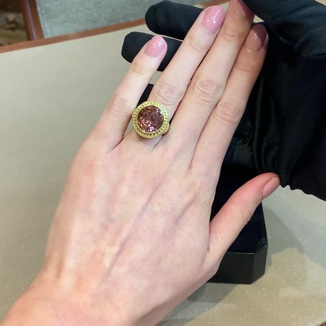 1980s Tourmaline Ring<br /> 15.70CT in Yellow Gold