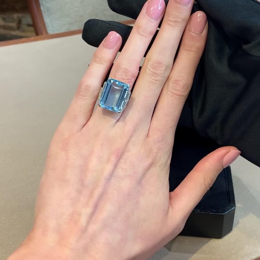 Trap Cut Aquamarine Ring<br /> 21.96CT in Platinum