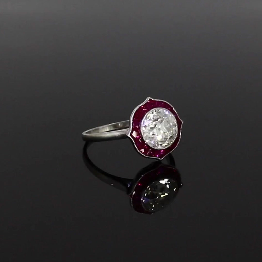 Ruby and Diamond Ring<br /> 2.90CT in Platinum