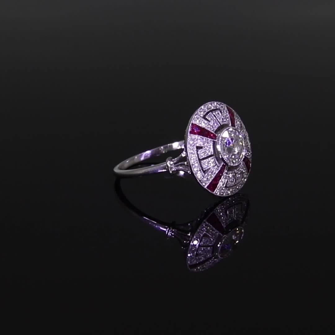Art Deco Diamond Target Ring <br /> 0.73CT in Platinum