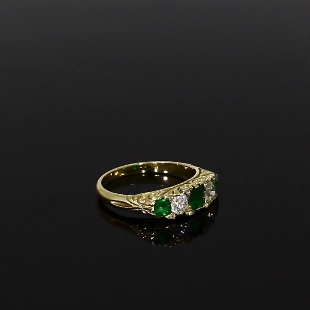 Emerald and Diamond Five Stone Ring <br /> 0.64ct in Yellow Gold