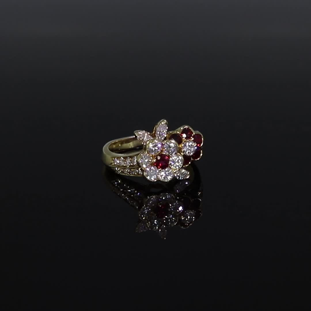 Contemporary Van Cleef & Arpels Diamond & Ruby Ring<br /> in Yellow Gold