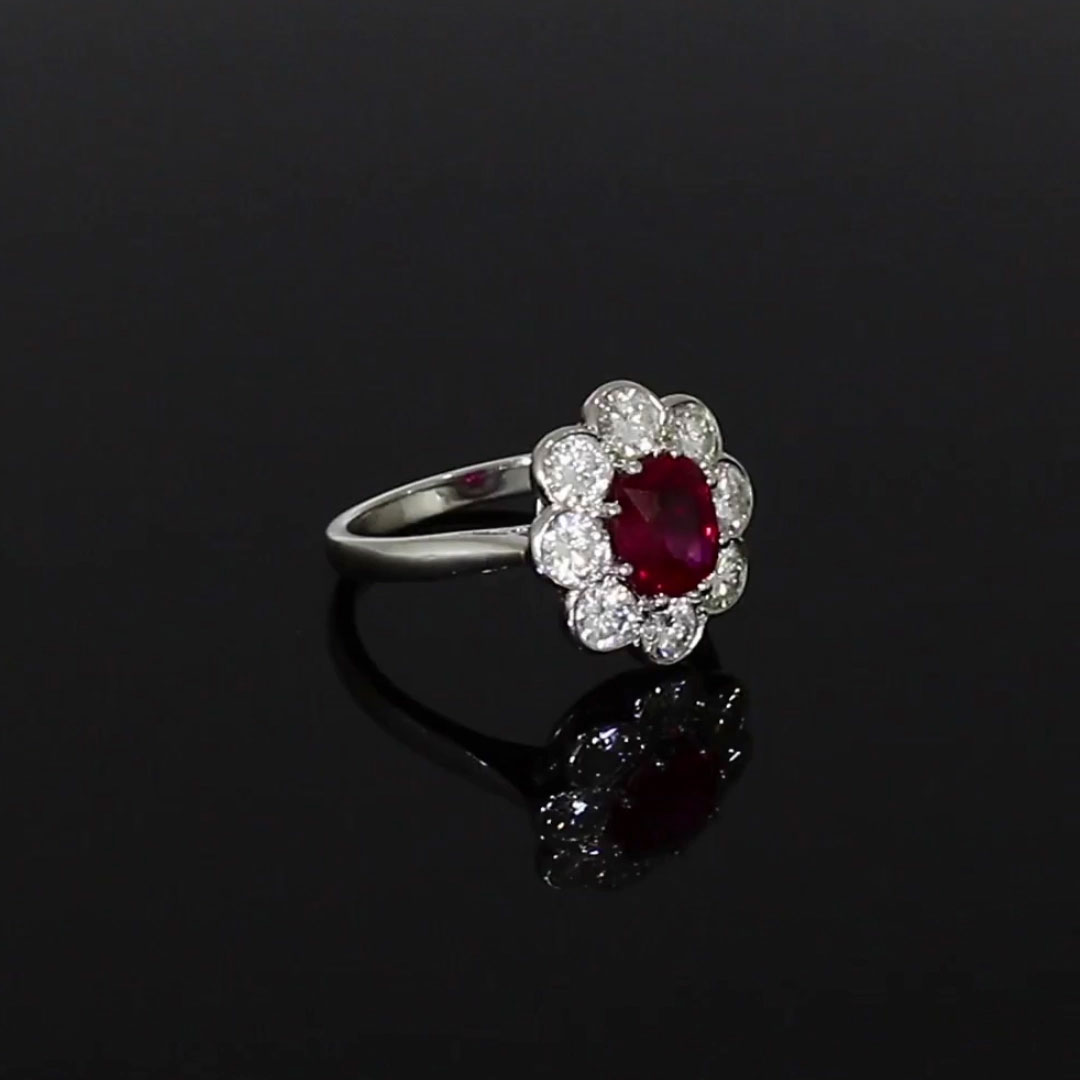 Contemporary Ruby Ring<br /> 1.21CT in Platinum