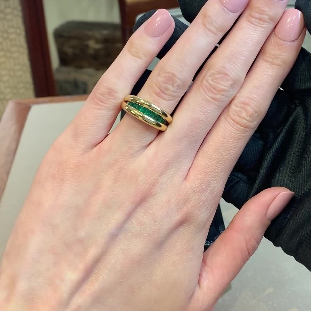 1970s Emerald & Diamond Ring<br /> 0.75CT in Yellow Gold