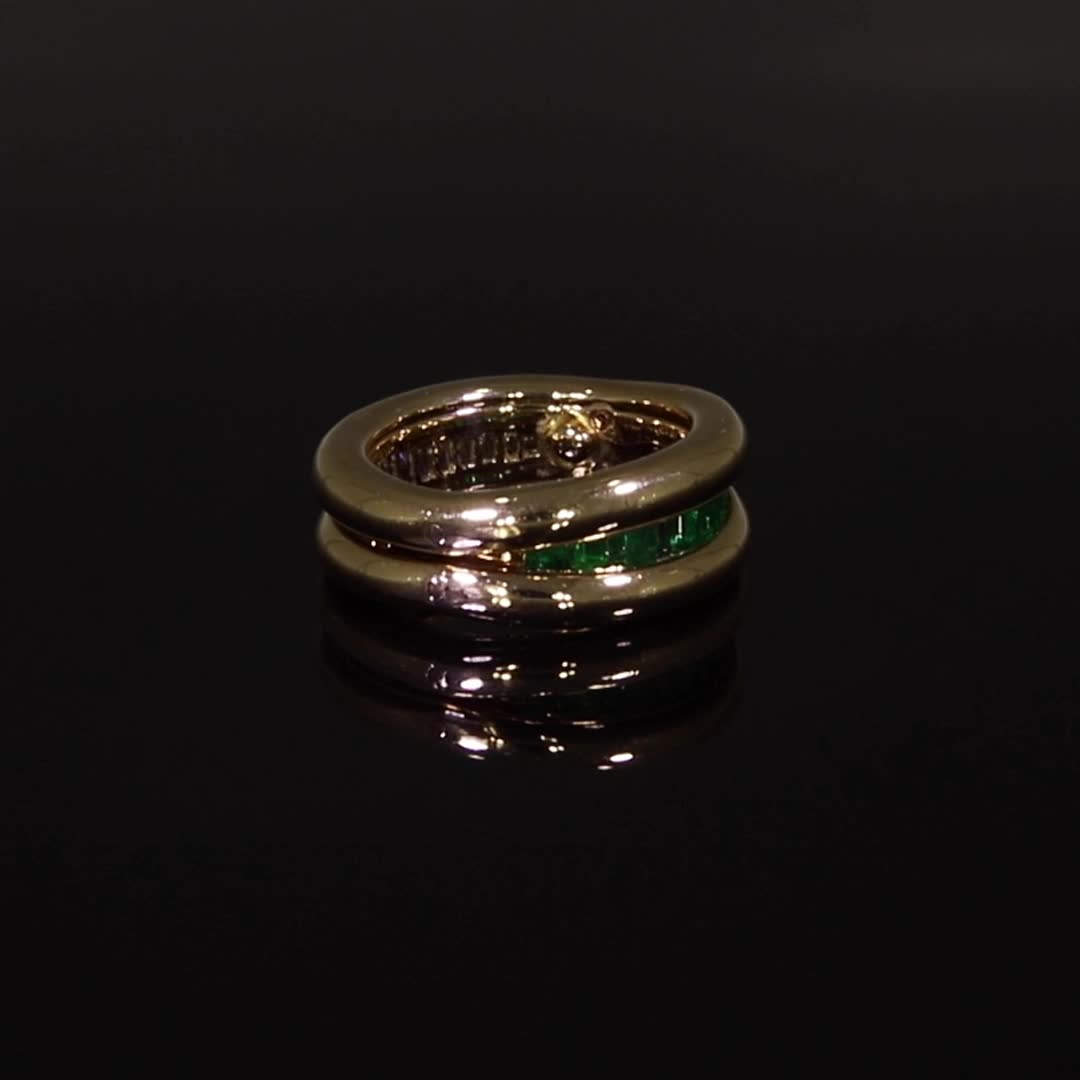 Present Day Emerald & Diamond Ring<br /> 0.75CT in Yellow Gold