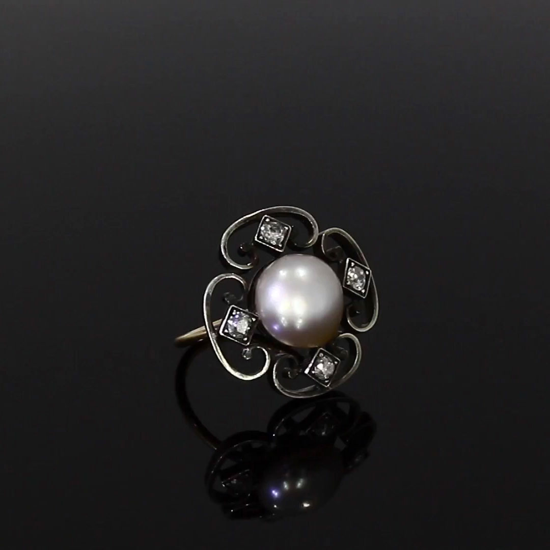 Belle Époque Natural Pearl Ring<br /> 3.95CT in Rose & White Gold