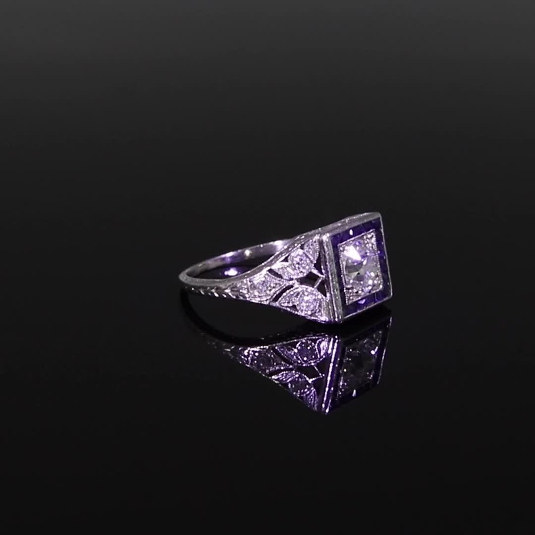 Art Deco Diamond Ring<br /> 0.80CT in Platinum