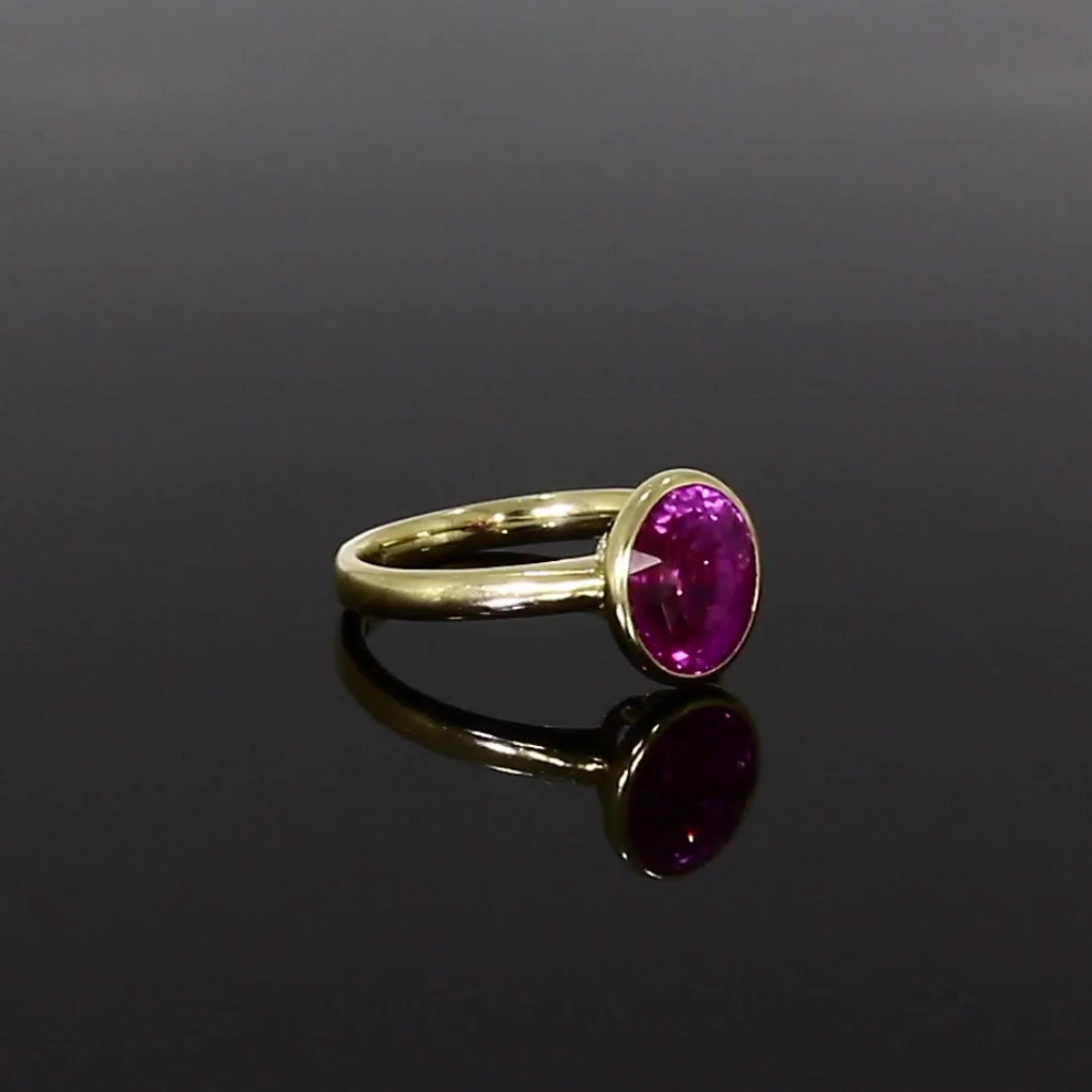 Pink Sapphire Ring<br /> 5.03CT in Yellow Gold