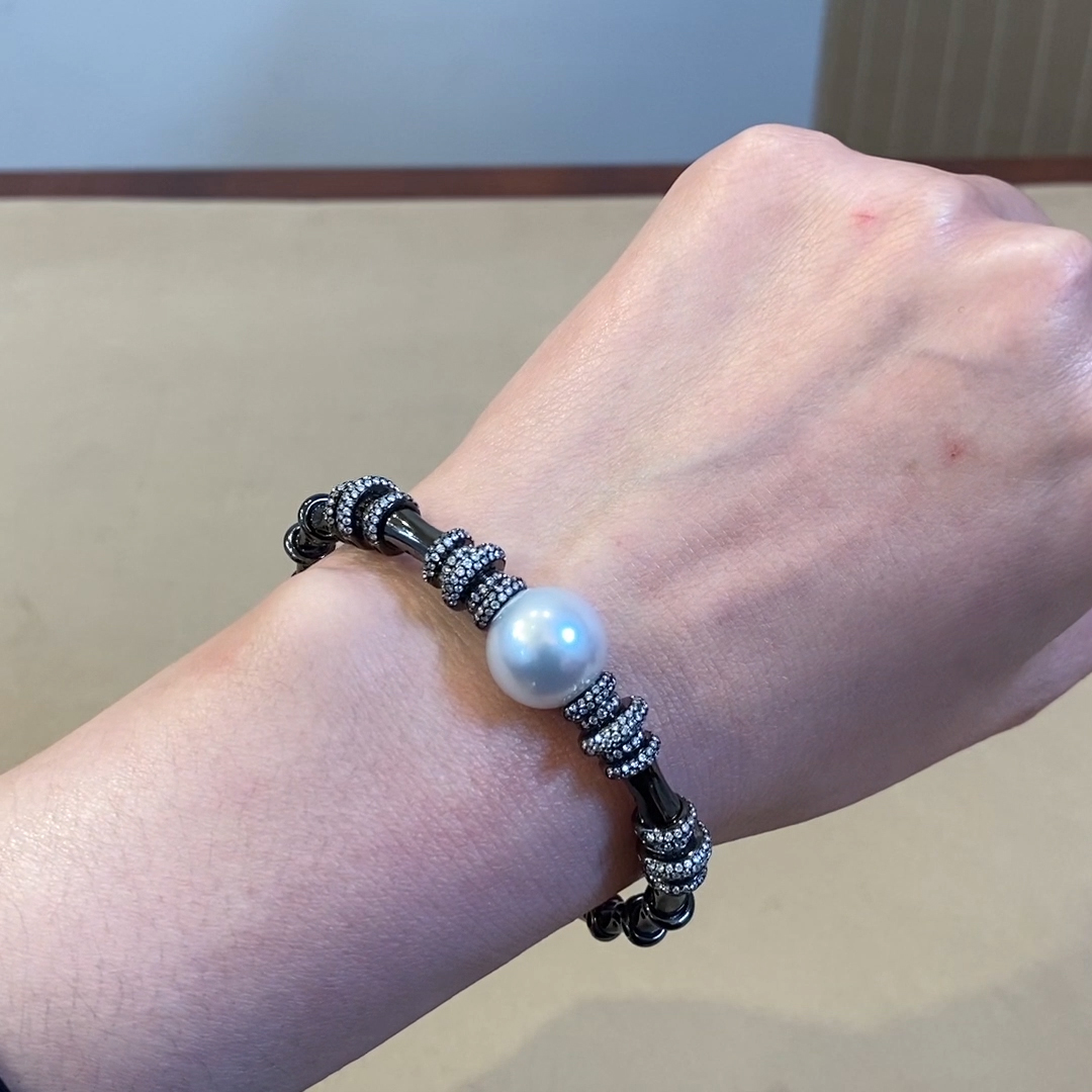 Pearl and Diamond Bracelet<br />  1.50CT in 18CT White Gold