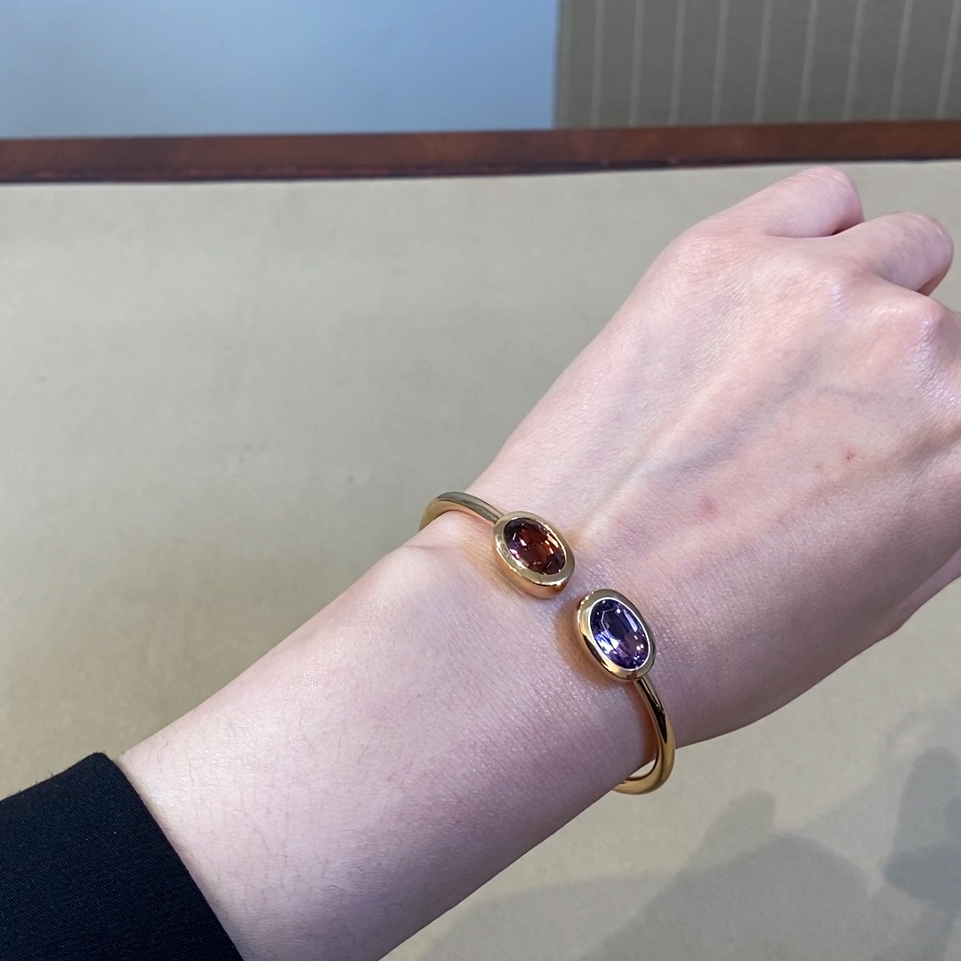 Amethyst and Tourmaline Bangle<br /> 6.19CT in 18CT Rose Gold