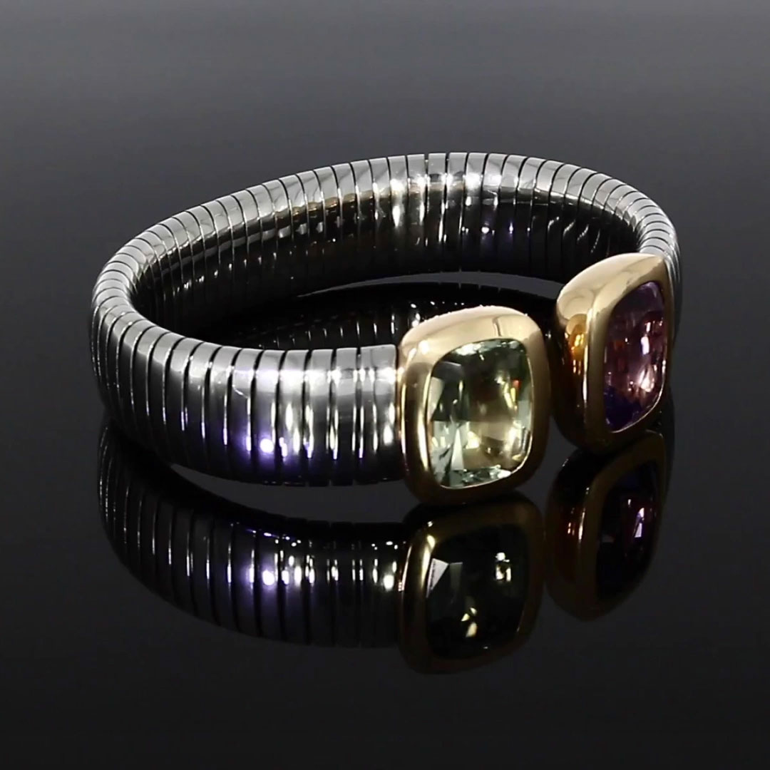 Amethyst Bangle<br /> 17.88CT in Steel and 18CT Rose Gold
