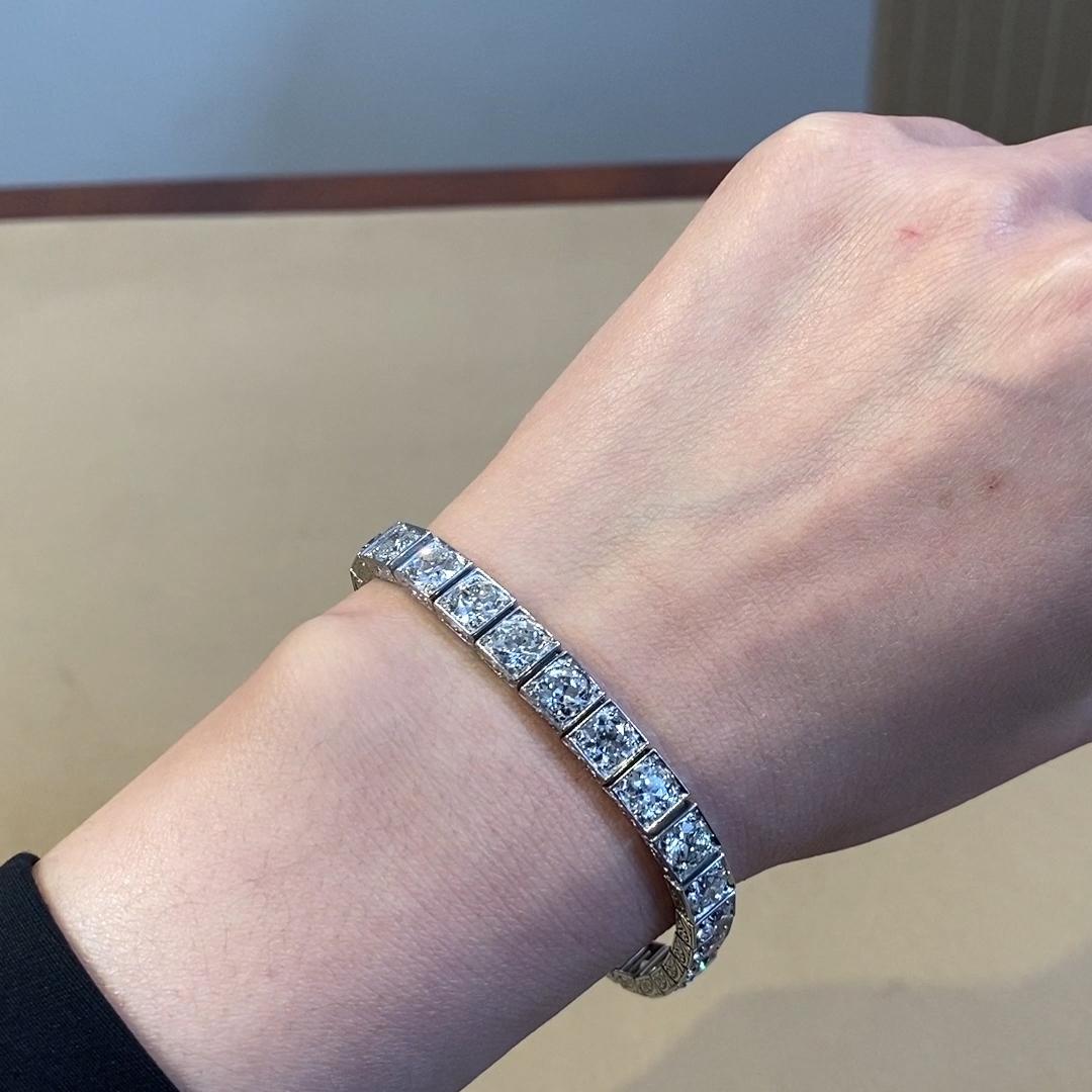 Art Deco Black Starr & Frost Diamond Bracelet<br /> 21.00CT in Platinum