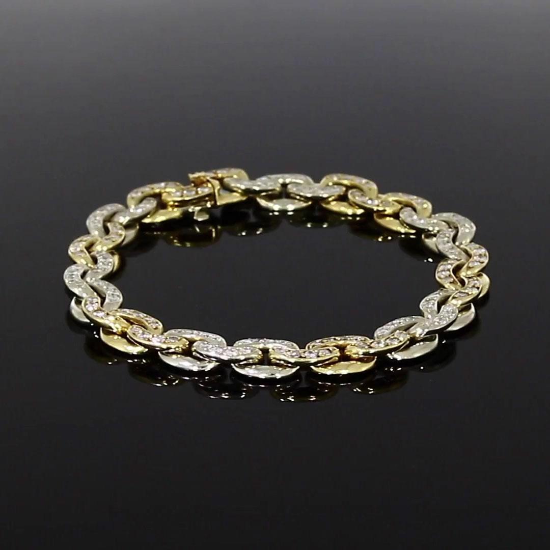 Art Deco Sterlé Diamond Link Bracelet<br /> in Yellow Gold